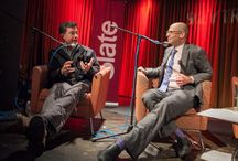 """Slate's Political Gabfest / At a live taping of Slate's Political Gabfest at the 92nd Street Y in Tribeca, Slate editor David Plotz ceded his turn in the podcast's """"cocktail chatter"""" segment to Stephen Colbert.(Info: http://bit.ly/1i4Whcq) / by Colbert News Hub"""