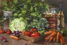 Martwa natura z owocami, warzywami / malarstwo