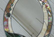 Stained glass leaf mirror funky