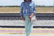 BLUE & MINT / Cómo combinar una camisa azul de cuadros y un pantalón verde menta