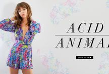 Acid Animal / Bring out the animal in you with our selection of jumpsuits, midi dresses, bralets and playsuits. Teamed in a selection of vibrant colours to match your attitude, we've included a range of accessories to give you that acid edge. We've also got a range of bikini's from neon orange to Aztec print – we're sure you'll find what you're looking for for your inner acid animal.