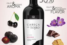 CABEÇA de TOIRO wine / Is a Reserve, DOC DoTEJO wine, made with 50% of Touriga-Nacional and 50% Castelão varietals.  With an intense aroma in well ripe red fruits, jam and wild fruits. Floral, toasted and chocolate nuances. Fruity, with nice volume in the mouth, well-structured and harmonious. The ends reveals silky and elegant tannins.  Ageing: 9 months in French oak barrels.  It is ideal to accompany red meats with sauces, game and structured cheeses. Serve at a temperature of 61/64ºF.