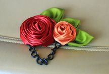 roses made of ribbon