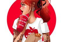 Coffee and tea Time ! ☕️❤️ / Coffee, café, illustration, dessin, digital, art, Ipadpro, woman