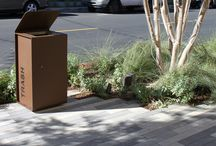 Victoria Gardens - Rancho Cucamonga / The Yes litter bin is made from a robust sheet metal structure with a 45° sloped cover. This design features one door with a patented spring steel blade slam-lock. The Yes litter bin can be manufactured with several custom options using corten steel, stainless steel and powder coated steel. The side panels can be made with vertical teak wood with the possibility to customize with laser cutting.  Design: Alfredo Tasca