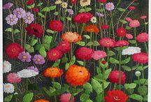 appliqued zinnias quilt