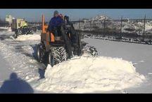 sneeuwschuiven en zoutstrooien / sneeuwschuiven en zoutstrooien