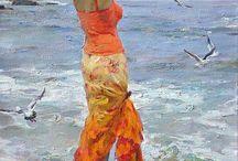 orange dame på stranda