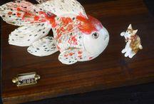 ceramic gold  fish / ceramic art works. artist: Ari kurihara from japan.