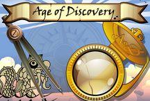 """Age of Discovery / È tempo di scoprire nuove terre, e con esse i loro tesori! Con la partita bonus """"Tesoro"""" puoi vincere fino a 32.250 monete e con il simbolo moneta d'oro ne puoi vincere addirittura 60.000! Su Age of Discovery, cannocchiale e bussola ti aiuteranno a trovare la tua strada verso ricchezze… d'altri mondi!"""