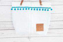 Sailcloth Pom Pom Bags