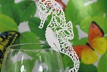 carte de verre,porte noms,marque place hippocampe,decoration table mariage