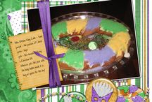 Masquerade Digital Scrapbooking by Kathryn Estry / If you celebrate Mardi Gras or any festival, you'll love the papers and elements in this page kit!  Loaded with masks and other carnival goodies, how great your festival photos will look in the traditional colors of purple, green, and gold!  There's even a king cake included along with beads, charms, and lots of glittery surprises!