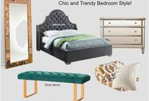 Trendy Bedroom style - Meridian Furniture / Meridian Furniture's Chic and Trendy Bedroom Style for a Modern home. Green Ethan Bench and Velvet Grey Madison Bed. Available in Other Colors.