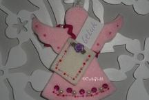 Give a wish / Handmade by ©CootjeVrolijk / Wil je iemand een hart onder de riem steken dan zijn deze Wens-Engeltjes daar heel geschikt voor. In het tasje is plaats voor een briefje met een wens of een lief woordje.