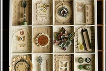Altered Boxes and Trays / an assortment of altered printer's trays, artists trays, shadow boxes, and ordinary boxes