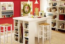 Craft room ideas / Filled with inspiration for my future craft room. I am envisioning a grey and red room with creativity stations for sewing, scrapbooking, knitting, painting and such for the whole family. / by Cecyle