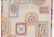 Kantha Quilts / Kantha quilts using sashiko stitching.