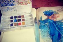 Dessins / Aquarelles, Crayons Noir, Pro Marker, Crayons Gris, Crayons de Couleurs, Fusains, Pastelle....