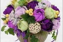Бумажные цветы, помпоны и прочее