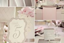 gray and pink wedding