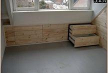 Ingebouwde kasten voor schuin dak