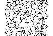 cijferkleurplaat herfst