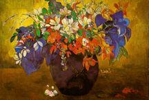 Painted flowers in vases