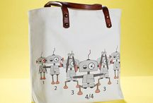 01WARDROBE Autumn/Winter 2013 - Robot Tote Bag / Cow Skin Leather Shoulder Straps // %100 Cotton Canvas bag / Printed bag / İllustrated bag / Robot Tote Bag, $69