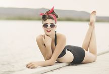 MOOD BOARD: beach pinup / inspiration for pinup style photos at the beach