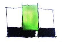 GOOarquitectos art / El complejo proceso creativo en ocasiones se expresa y representa con dibujos, esquemas, colores y rallas que parecen no tener sentido. Pero todo lo contrario, se trata de descartar, explorar, luchar contra argumentos y justificaciones, ordenando las piezas necesarias para convertirlas en un objeto o espacio habitable. Se trata de recordar que todo tiene un origen y solo así justificar cada toma de decisión respecto a un concepto de diseño.