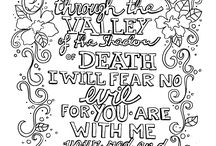 scripture art / Coloring-in pages for devotions, counselling, and fun.