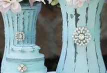 glass vases painted with chalk paint