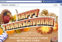 Thanksgiving + Chanukah = Thanksgivukah / Celebrate the convergence on November 28, 2013 of Thanksgiving and Chanukah, which won't happen again for nearly 80,000 years (in other words, not in our lifetime.)