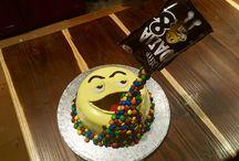 M&M's anti-gravity birthday cake