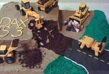 Bolo de Construção Festa com Máquinas, Tratores, Caçambas, Caminhão, Caminhões / Construction Party by Cake with Machines, Tractors, Buckets, Truck, Trucks
