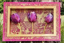 "COLOREL - Rahmen mit Blumenvasen ""Barock gold/pink"""