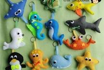 animais marinhos de feltro