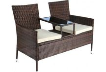 Poly Rattan Garden Patio 2 Seat with Integrated Table Garden Outdoor Furniture