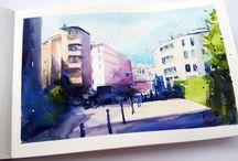 Watercolor/ My sketchbook/ Stillman& Birn / To szkicownik z migawkami z miasta Warszawa. Pokazujący miejsca i ulice o dużym uroku, ale nie tak reprezentacyjne jak centrum miasta.