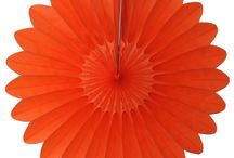 Orange Honeycomb Decorations and Fans