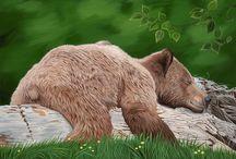 Bear Paintings / Large scale acrylic on canvas paintings.  Grizzly bears, Polar bears and black bears.