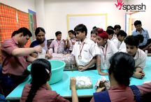 PRESIDIANS DISCOVER HUMANITY AT SPARSH SPECIAL SCHOOL / A promising batch of young Presidians visited Sparsh. The students were taken around the school to familiarise them with the functioning of the school. While touring the school they saw the various facilities available at the school like Physiotherapy, Speech Therapy, the Computer Lab facility, the Dance and Projector rooms etc. The students also visited the Handloom manufacturing unit where they were shown the wide range of products made there.