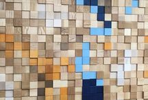 Wooden mosaic / Wooden mosaic wall, wooden panels pixels, ceiling, wooden wall cladding