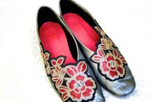 China / Little slip ons with sequins and metallic leather.
