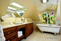 Bathroom Design 11 / A bright, eclectic attic style bathroom with stained glass windows.