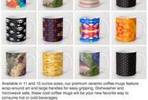 Eclectic Wrap around art Coffee Mugs / Eclectic wrap around art designs with large handles for easy handling. Dishwasher and microwave safe in 11oz and 15 oz sizes by celeste@khoncepts.com
