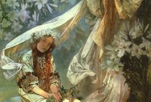 ALPHONSE MUCHA PAINTINGS / Alphonse Mucha in greater depth and beautiful colours. Such lovely illustrations of women.