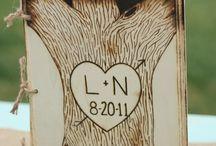 Wooden wishing book wedding