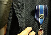 broche, biżuteria / broszki wykonane techniką decoupaga